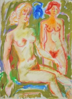 Two Nudes Watercolor 1979 19x14 Watercolor - Ivan Filichev
