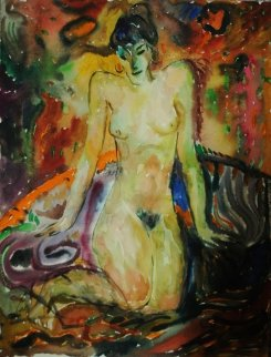 Nude Woman Watercolor  1978 19x14 Watercolor - Ivan Filichev