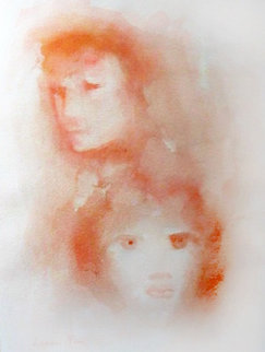 Red Faces 1970 Watercolor - Leonor Fini