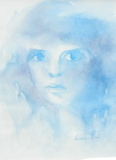Blue Face Watercolor 1980 Works on Paper (not prints) - Leonor Fini