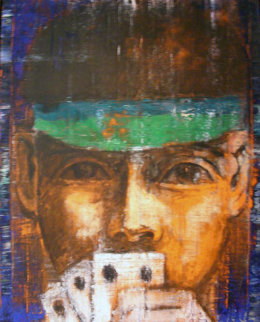 Poker Player 1986 40x30 Original Painting - Aaron Fink