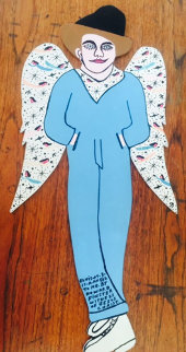 Elvis-At-3-Is-A-Angel-To-Me (With Wings!) 1991 Original Painting - Howard Finster