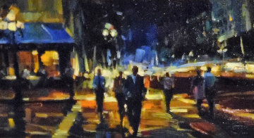 Walk About Town 2009 12x36 Original Painting - Michael Flohr