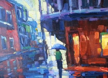 Out in the Rain 2004 18x21  Original Painting - Michael Flohr