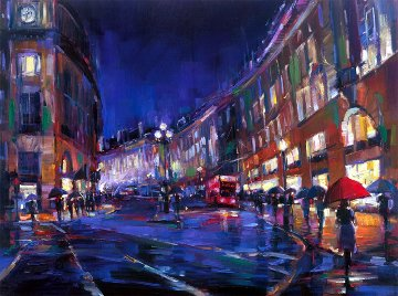 London Rain Embellished Limited Edition Print - Michael Flohr