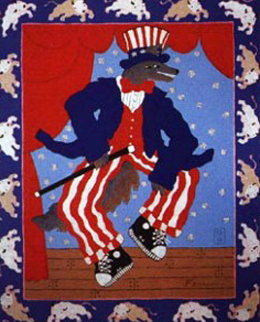 Uncle Sam Coyote With Buffalos 1998 Limited Edition Print - Harry Fonseca