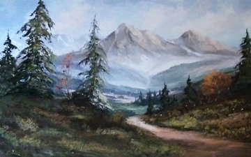 Untitled Painting 52x28 Original Painting - Caroll Forseth
