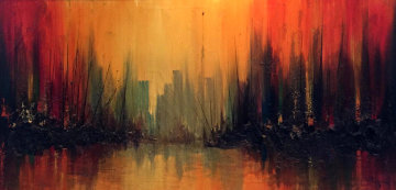 Manhattan Skyline With Burning Ships 1969 36x60 Original Painting - Ozz Franca