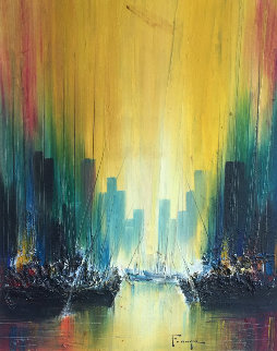 Untitled Cityscape 1974 40x34 Original Painting - Ozz Franca