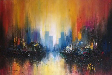 Untitled Cityscape 1974 21x27 Original Painting - Ozz Franca