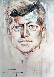 JFK Portrait 1967 24x28 Original Painting - Ozz Franca