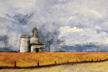 Grain Elevator 12x35 Original Painting - David Francey