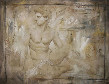 Untitled Grecian Man 36x44 Original Painting - Richard Franklin