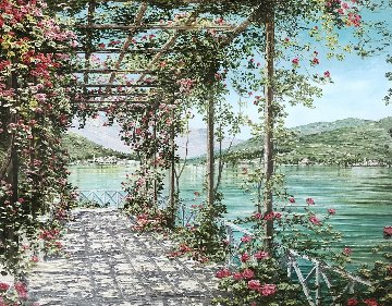 View of Bellagio - Lake Como 1998 Embellished Limited Edition Print - Liliana Frasca