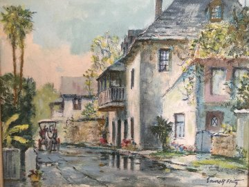 Looking South on Aviles Street 1950  19x16 Original Painting - Emmett Fritz