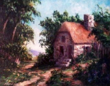 Old English Cottage 2007 22x26 Original Painting - Art Fronckowiak