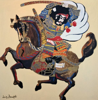 Samurai on Horse 1980 39x39 Original Painting - Luigi Fumagalli