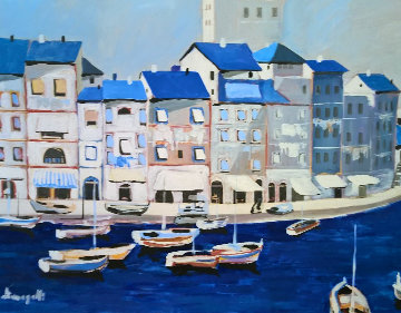 Untitled Itallian Port 1980 36x46 Original Painting - Luigi Fumagalli