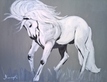 White Stallion 1980 39x38 Original Painting - Luigi Fumagalli