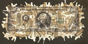 Old $100 Bill Design With Single Layer Soldiers And Bullet Shells 2012 Unique   8x14 Original Painting - Steven  Gagnon