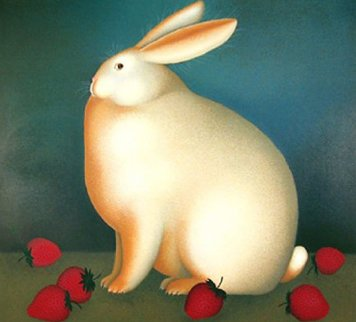 Rabbit With Strawberries 1989 Limited Edition Print - Igor Galanin