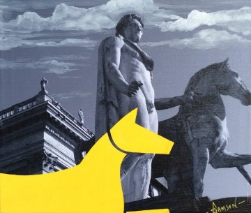 Yellow Horse Italian Series 2014 16x19 Original Painting - Stephen Gamson