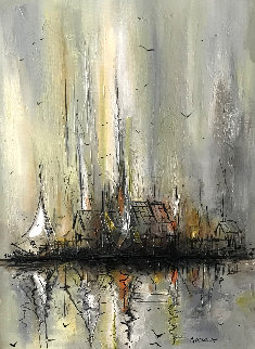 Untitled Sailboat Painting 1974 30x24 Original Painting - Danny Garcia