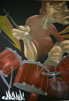 Drummer 2005 40x30 Original Painting - David Garibaldi
