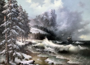 Untitled Winter Seascape 1989 35x45 Original Painting - Eugene Garin