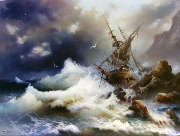 Shipwreck - Sea the Victory 40x50 Original Painting - Eugene Garin