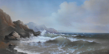 Untitled (Seascape With Rocks) Original Painting - Eugene Garin
