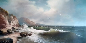 Untitled Seascape 1960 52x29 Original Painting - Eugene Garin