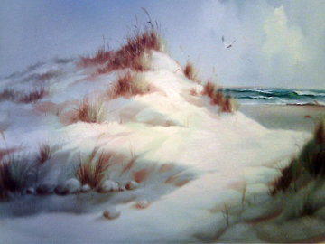Untitled Winter Landscape 46x34 Original Painting - Eugene Garin