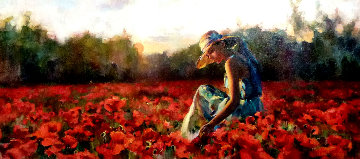 In the Red Sea of Flowers 30x50 Original Painting - Michael and Inessa  Garmash