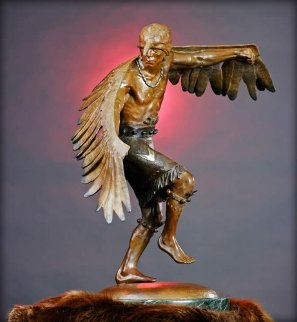 Winged Messenger Bronze Sculpture 1980 27x22 Sculpture - Gary Lee Price