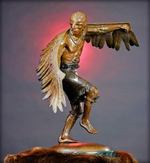 Winged Messenger Bronze Sculpture 1980 27x22