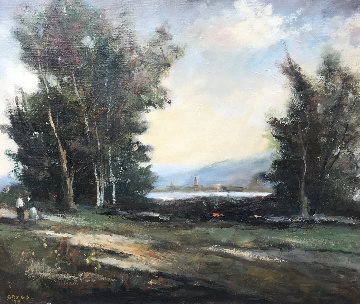 Untitled Landscape 1990 27x31 Original Painting - Jack  Gates