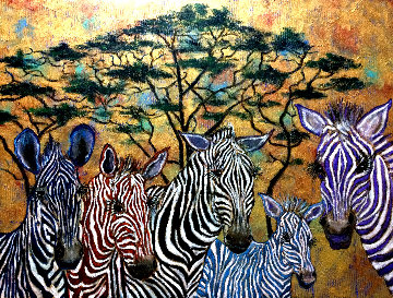 Zebras In Color 2019 36x48 Original Painting - Gaylord Soli  (Gaylord)