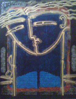 Symphony in Blue 2003 41x29 Original Painting - Gaylord Soli  (Gaylord)