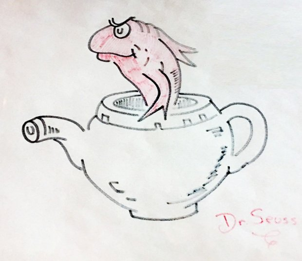Fish in a Teapot Drawing 1970 21x19