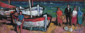 Fishing Vessels in Southern Harbor 1964 23x47 Original Painting - Gerd Norbert Hartmann