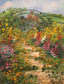 Giverny Chez Monet  2002 14x15 Original Painting - Marie-Ange Gerodez