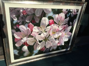 Apple Blossoms 1980 59x47 Original Painting - Michael Gerry