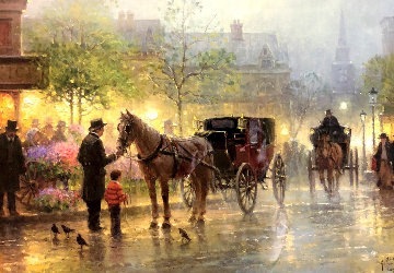 Cabbies At the Market 1996 Limited Edition Print - G. Harvey