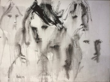 Untitled (Six Faces)  1971 30x40 Original Painting - Gino Hollander