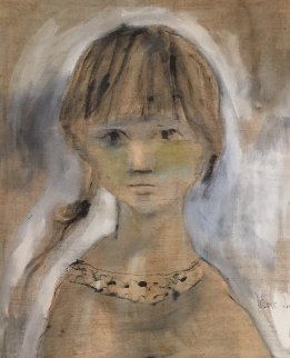 Untitled (Girl in Gold) 1965 37x31 Original Painting - Gino Hollander