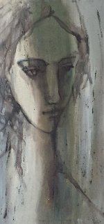 Untitled -  Girl in Shadow 1983 49x26 Original Painting - Gino Hollander