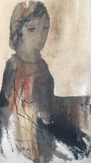 Portrait of Girl 1970 45x30 Original Painting by Gino Hollander