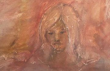 Young Girl's Face 1965 25x41 Original Painting - Gino Hollander