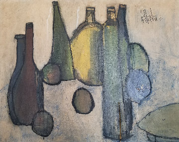 Untitled Oil on Canvas - 6 Bottles 1963 24x31 Original Painting - Gino Hollander